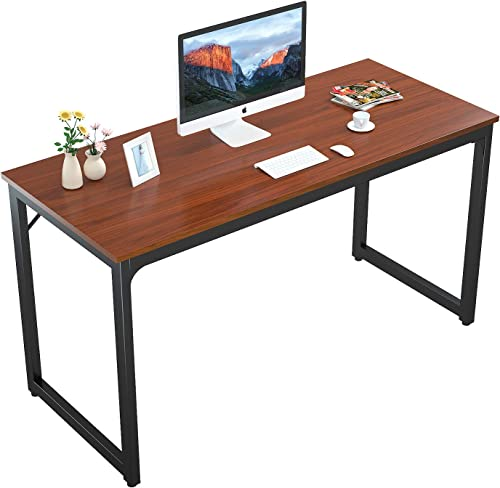 Foxemart 55 Computer Desk Modern Sturdy Office Desk 55 Inch PC Laptop Notebook Study Writing Table for Home Office Workstation, Teak