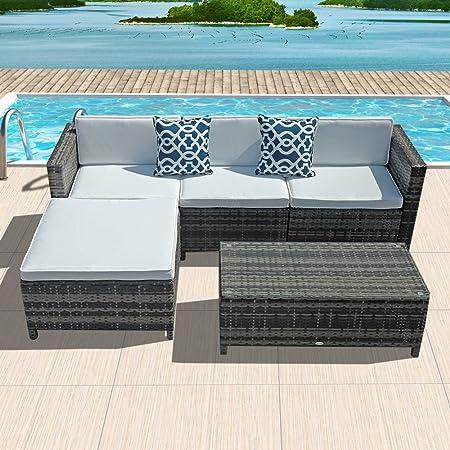 5pc Patio Conversation Set, Outdoor PE Wicker Rattan Sectional Furniture Set No-Slip Cream White Seat Back Cushions, Blue Throw Pillows, Steel Frame, Gray