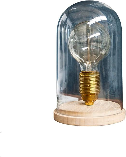 Vintage lámpara de mesa Edison Estilo Retro Edison – Bombilla E27 Madera Vidrio Cúpula de cristal salón lámpara bombilla lámpara de mesa Nostalgie: Amazon.es: Iluminación