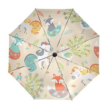 ALAZA Viajes Unicornio Fox Pavo Real Paraguas de Apertura automática Cerca de Protección UV a Prueba