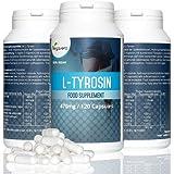 L - Tirosina Vegavero   Amminoacido Essenziale - Energia - Sonno - Umore - Prestazioni - Metabolismo   470 mg - 120 Capsule   Integratore Naturale e Vegan   Garanzia di qualità