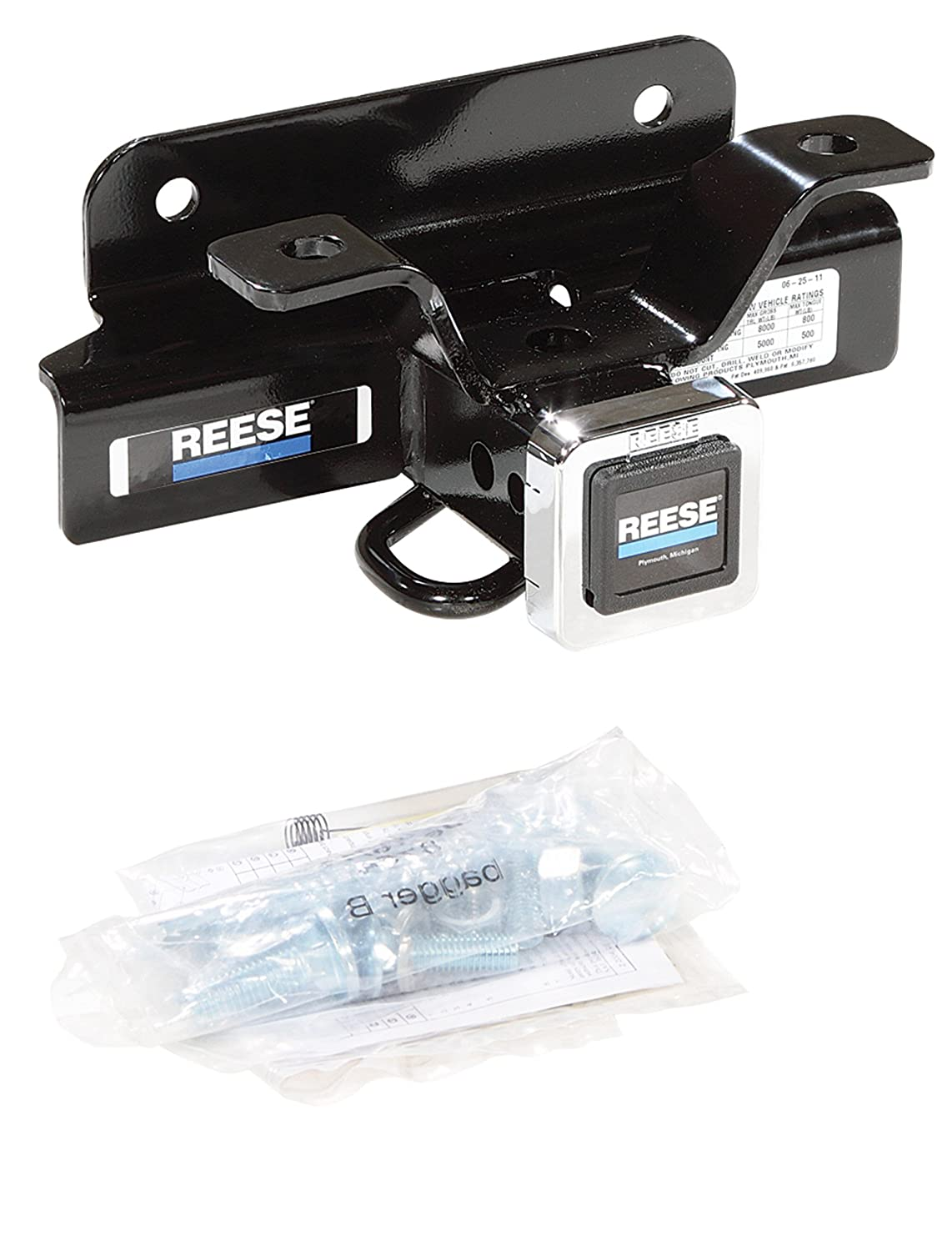 Reese Towpower 44738 Class III Custom-Fit Hitch with 2 Square Receiver opening includes Hitch Plug Cover