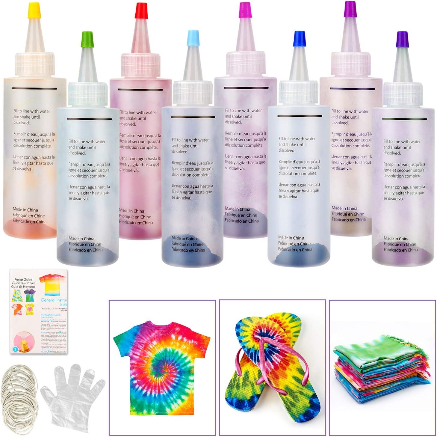 Tie Dye Kit, Sinwind 8 Colores Vibrantes Pinturas Textiles de Tela, con 40 Bandas de Goma, 8 Pcs de Guantes de Plástico, para Tela Pinturas, ...