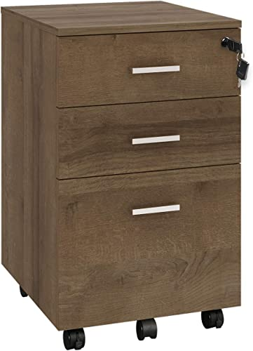 DEVAISE 3 Drawer Mobile File Cabinet with Lock, Fully Assembled Except Casters, Letter Legal Size, White