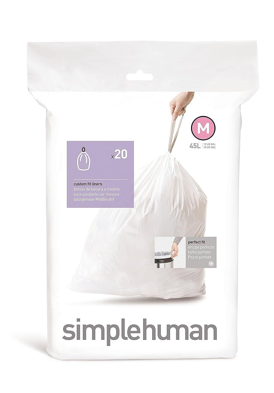 Amazon simplehuman code m custom fit trash can liner 1 refill amazon simplehuman code m custom fit trash can liner 1 refill pack 20 liners 45 l 12 gal home kitchen nvjuhfo Images
