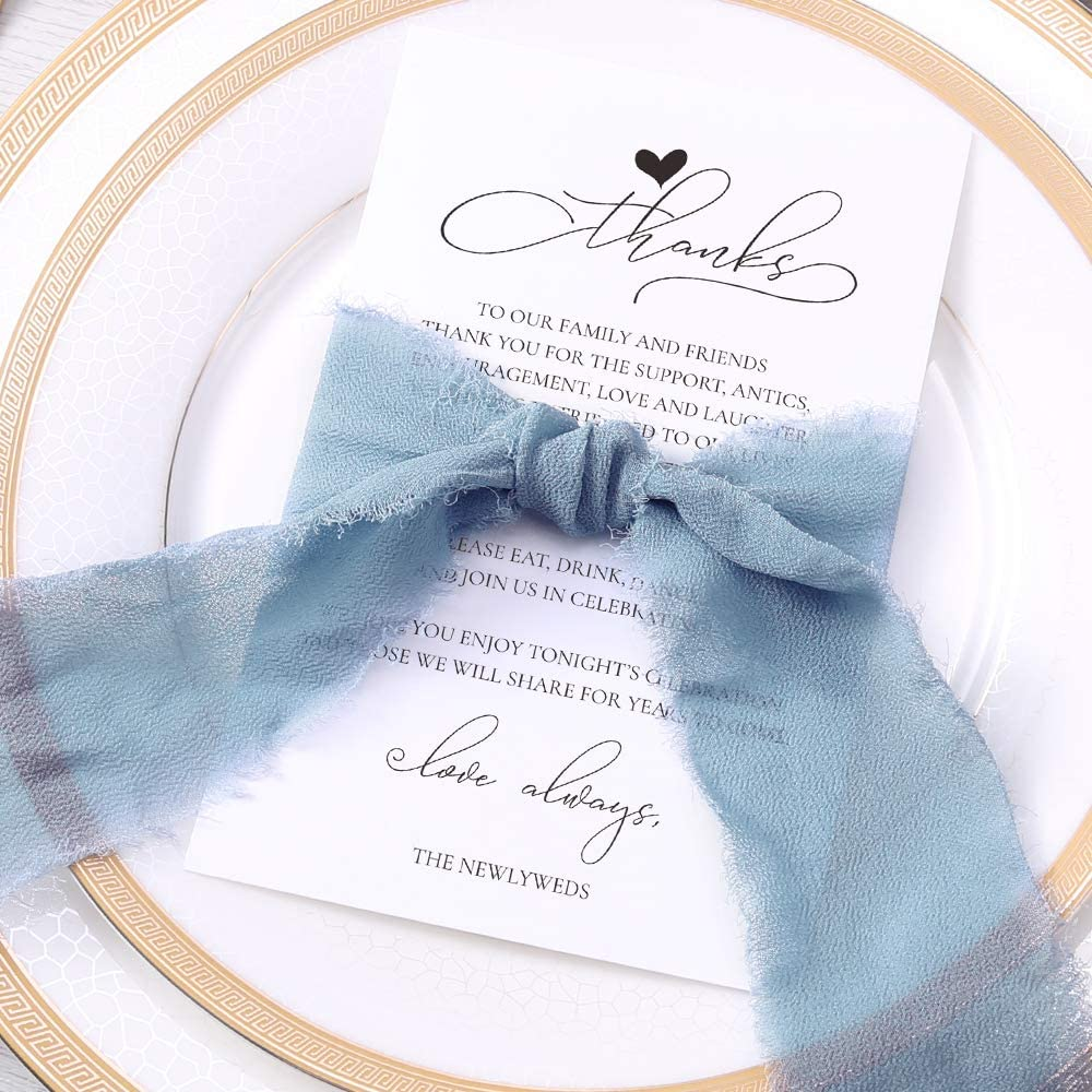 Doris Home Wedding Thank You Place Setting Cards with Dusty Blue Chiffon Ribbons, 4x6 Print to add to your Table Centerpieces and Wedding Decorations — Pack of 50