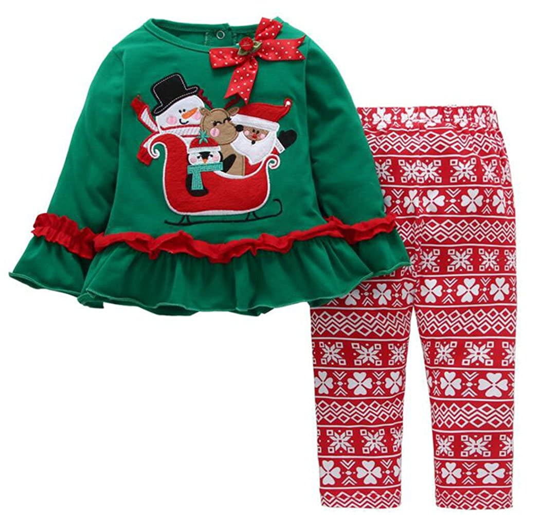 SUPEYA Baby Girls Boys Christmas Santa Claus Print Ruffled Tops Floral Pants Outfits