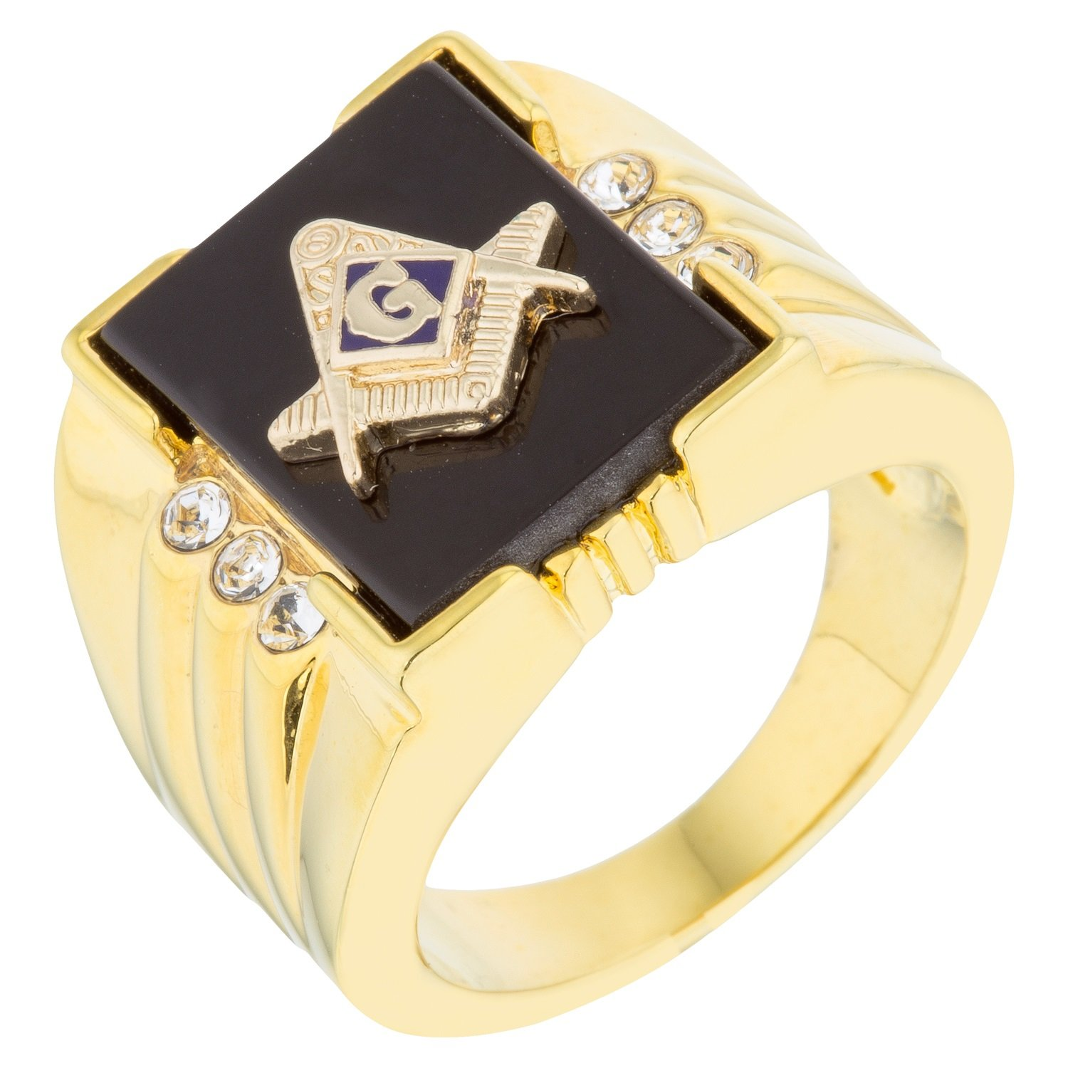 18k Gold Plated Ring with Masonic Symbol with Onyx Accents with Round Cut Clear Cubic Zirconia Size 10