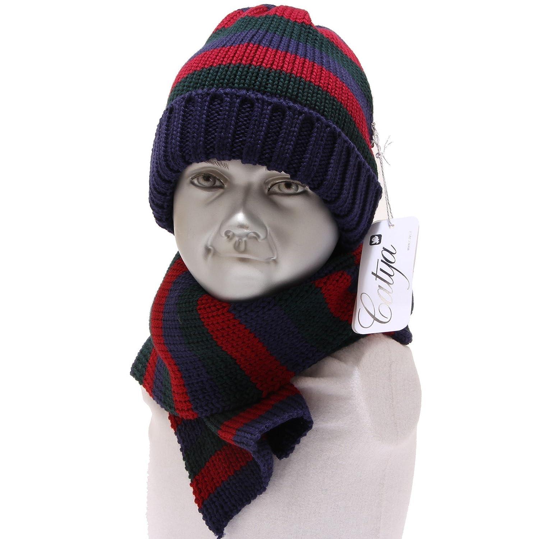 7004I set cuffia sciarpa bimbo blu CATYA lana merinos hats scarves kids