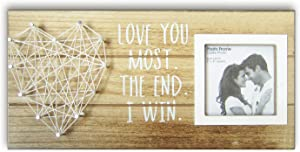 Love You Most the End I Win Rustic Wood Plaque Sign for 3 Inches Photo - Wooden Picture Frame with string art heart Couples Anniversary Gifts for Boyfriend and Girlfriend