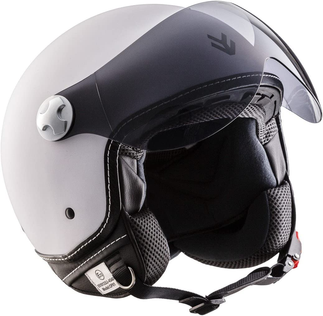 "/· Casque Moto Jet /· Cruiser Demi Jet Retro Scooter Helmet Chopper /· ECE certifi/é /· Visor /· Click-n-Secure/™ Clip /· Sac fourre-tout /&middo yellow Armor /· AV-84 /""Vintage Deluxe Creme/"""