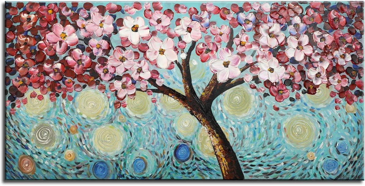 Modern Art 100 Hand Painted Framed Home Wall Decor Art Blooming Flower Tree 3D Oil Painting Abstract Artwork Cherry Blossoms Pink Flowers Blue Teal Colourful Starry Night Sky Living Room Decoration