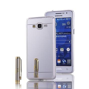 LXHGrowH Funda Samsung Galaxy Grand Prime, [Ultra Delgada] Carcasa con Espejo para Samsung Galaxy Grand Prime Cover Silicona TPU Protectora Plata ...