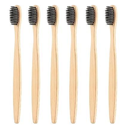 Cepillos de dientes de carbón natural de bambú para hombres y mujeres | biodegradables, compostables