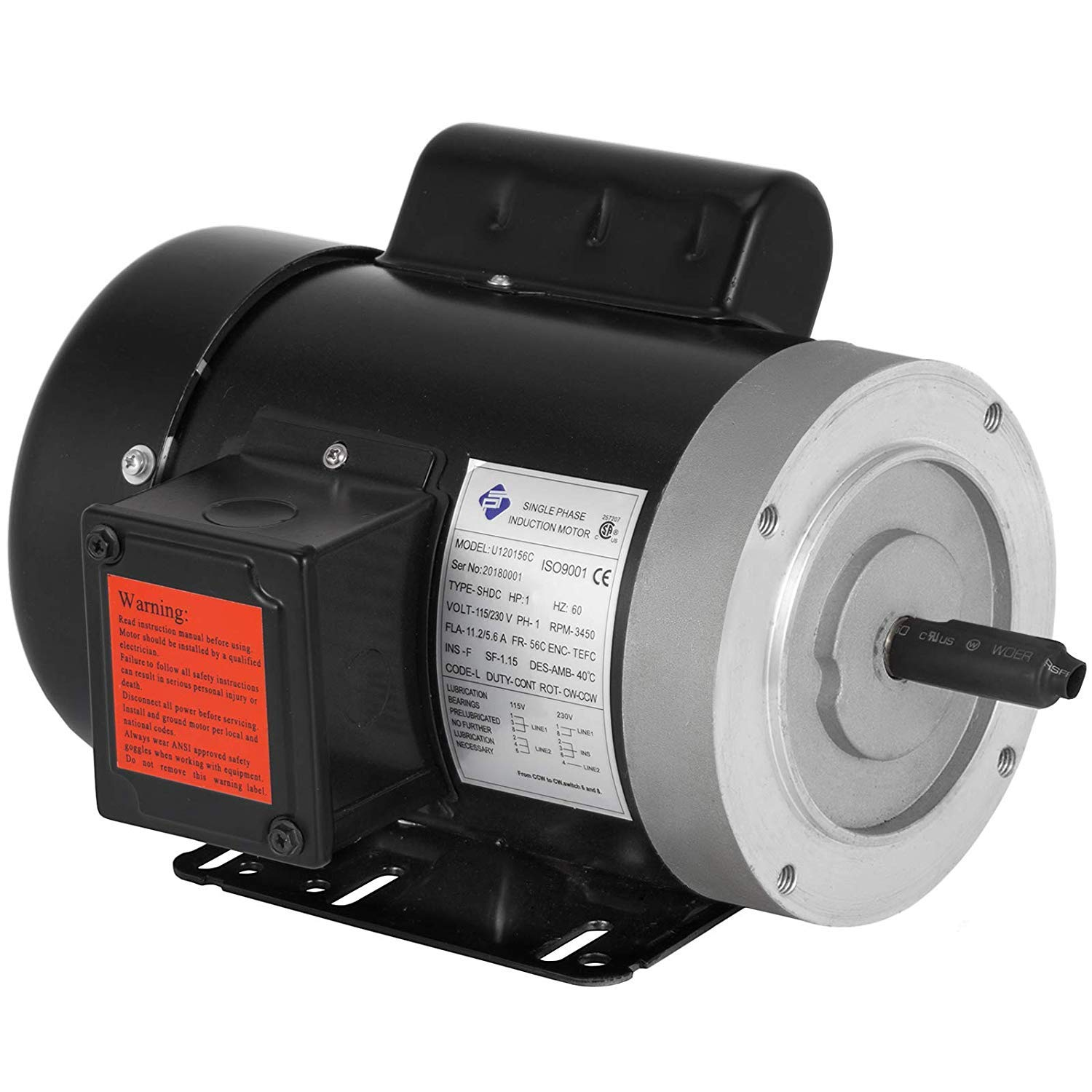 Mophorn 1 Hp Electric Motor 3450 RPM 11.2-5.6 A Single Phase Motor AC 115V 230V Air Compressor Motor 56C Frame Suit for Agricultural Machinery and General Equipment