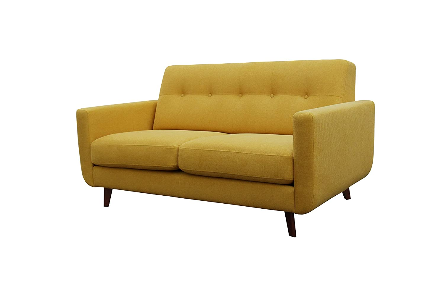 "Rivet Sloane Mid-Century Modern Loveseat with Tufted Back, 64.2""W, Yellow"