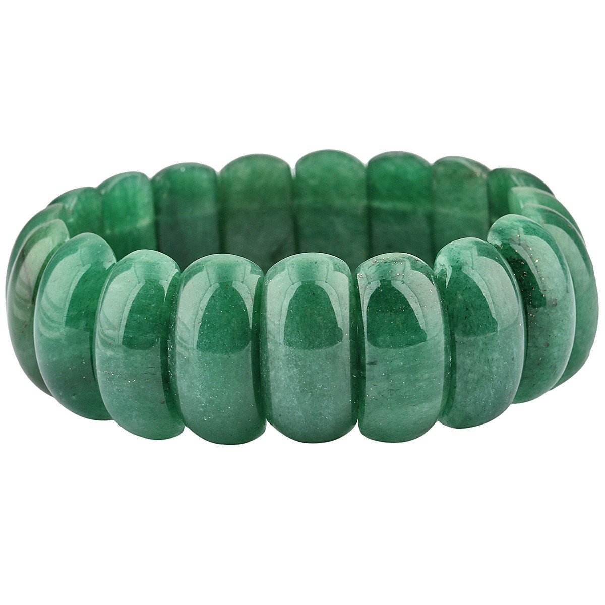 SUNYIK Oval Green Aventurine Bracelets for Women, Natural Crystal Stretch Bangle 8.5'' Unisex