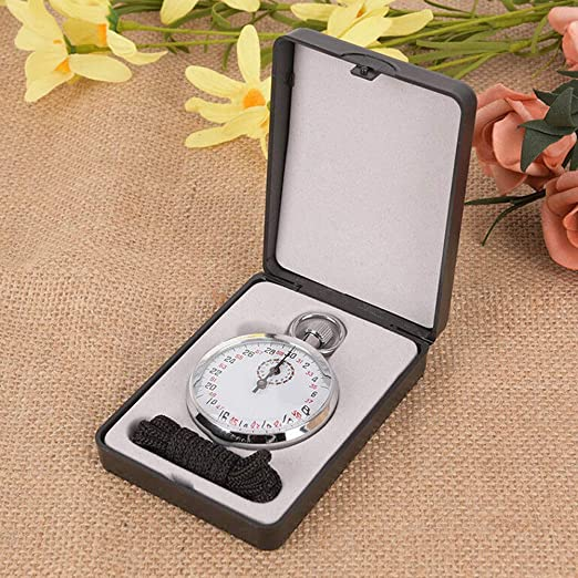 MOIAK Mechanical Stop Watch Handheld Sports Chronograph SXJ504 Sports Stopwatch Timer with Storage Box for Sports Referee Count Timer
