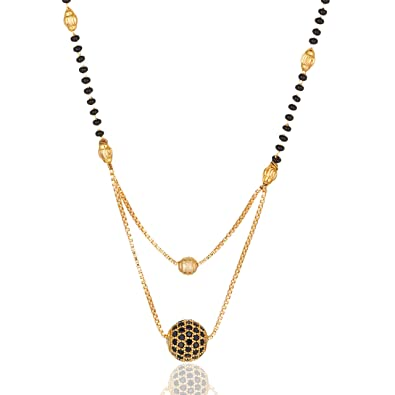 Darshini Designs Traditional Gold Plated Black Beads Double Layer Mangalsutra For Women