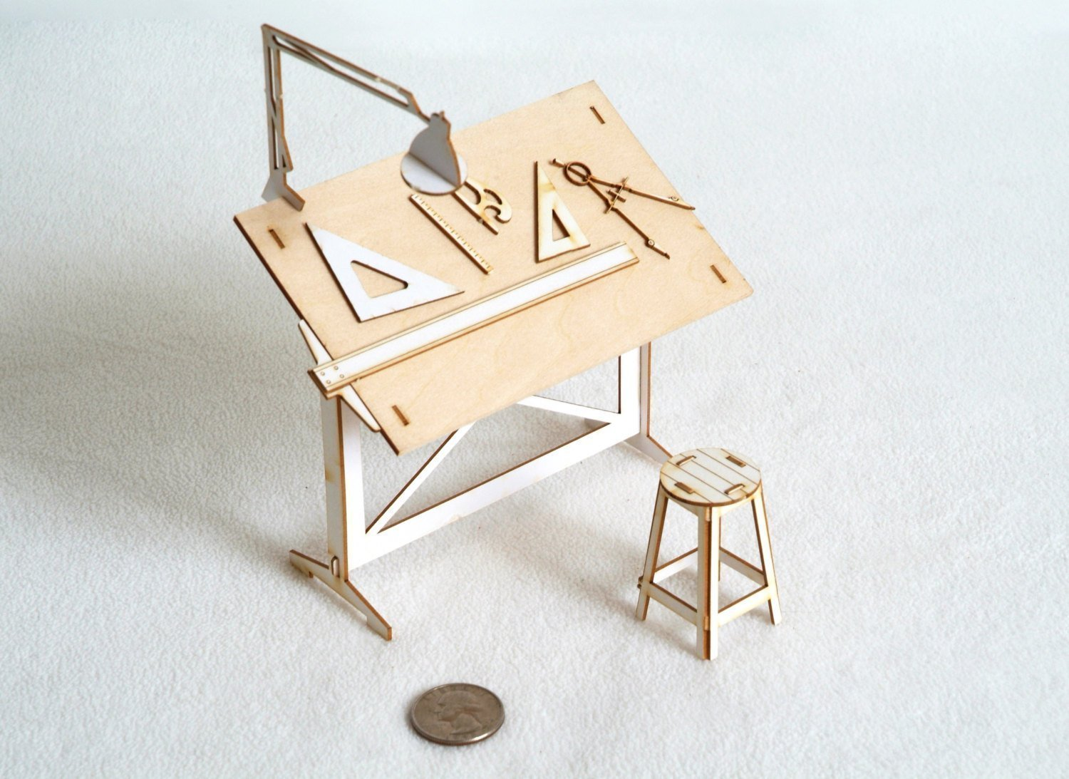 Superior Amazon.com: Miniature Drafting Table Model Kit Lasercut Architectural DIY  Model With Real Wood Tabletop: Handmade