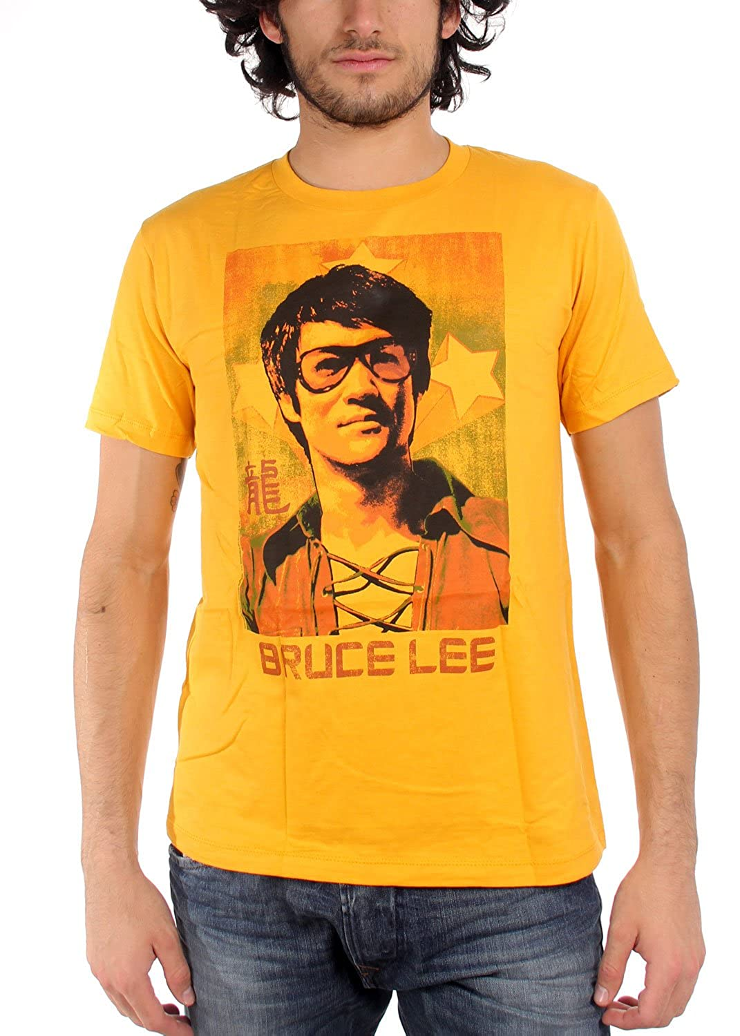 Bruce Lee - Mens Sunglasses Fitted T-Shirt In Gold