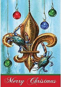 Merry Christmas Blue Crabs on Fleur de Lis 18 x 13 Rectangular Screenprint Small Garden Flag