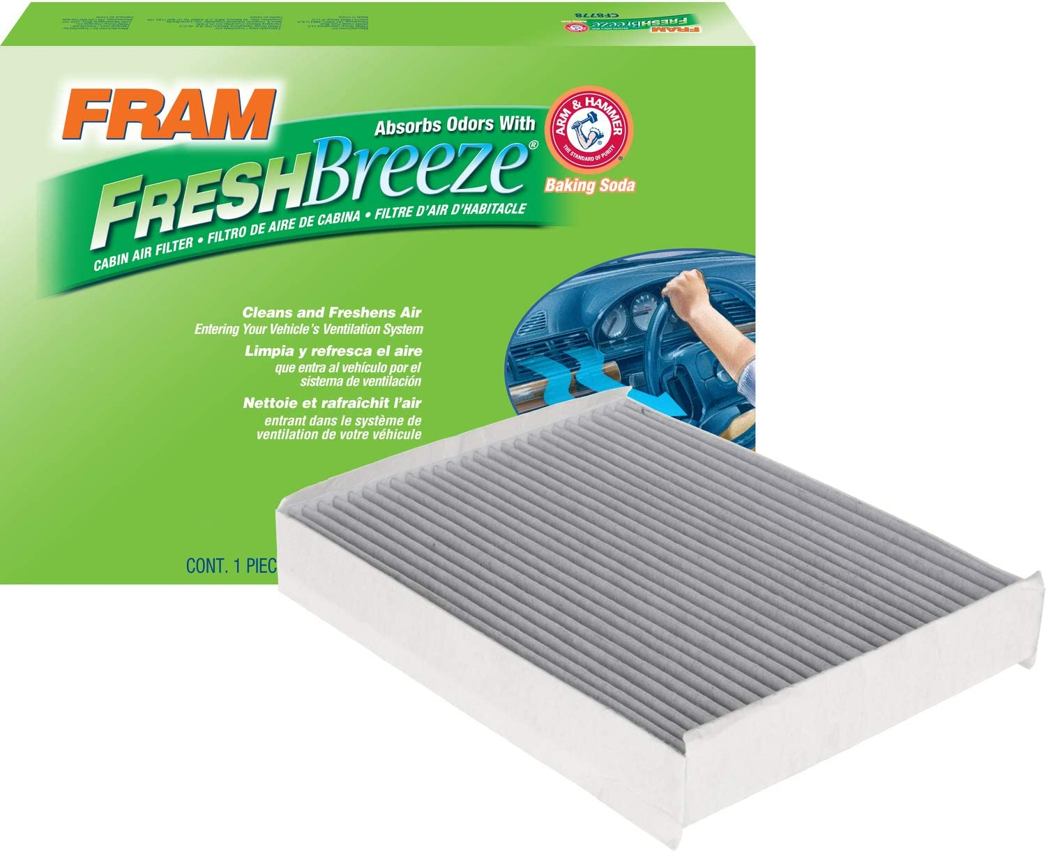 FRAM CF12150 Fresh Breeze Cabin Air Filter with Arm and Hammer