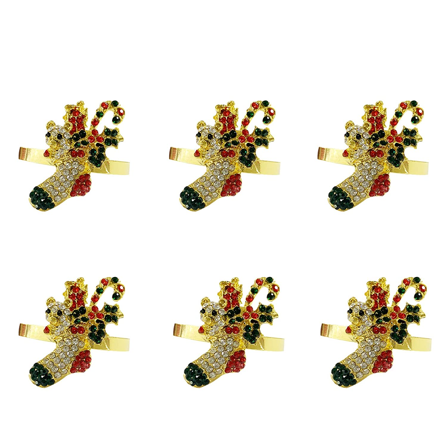 LogHog Christmas Tree Napkin Rings Set of 6 Delicate Napkin Ring Buckles Table Decorations for Christmas Thanksgiving Family Gatherings Parties Decor Favor Xmas Tree