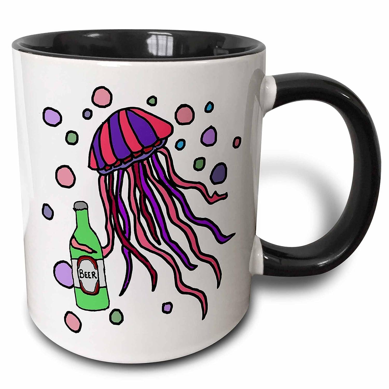 3dRose All Smiles Art at the Beach Funny Cool Jellyfish Drinking Beer Cartoon mug/_281400/_1 11oz Mug