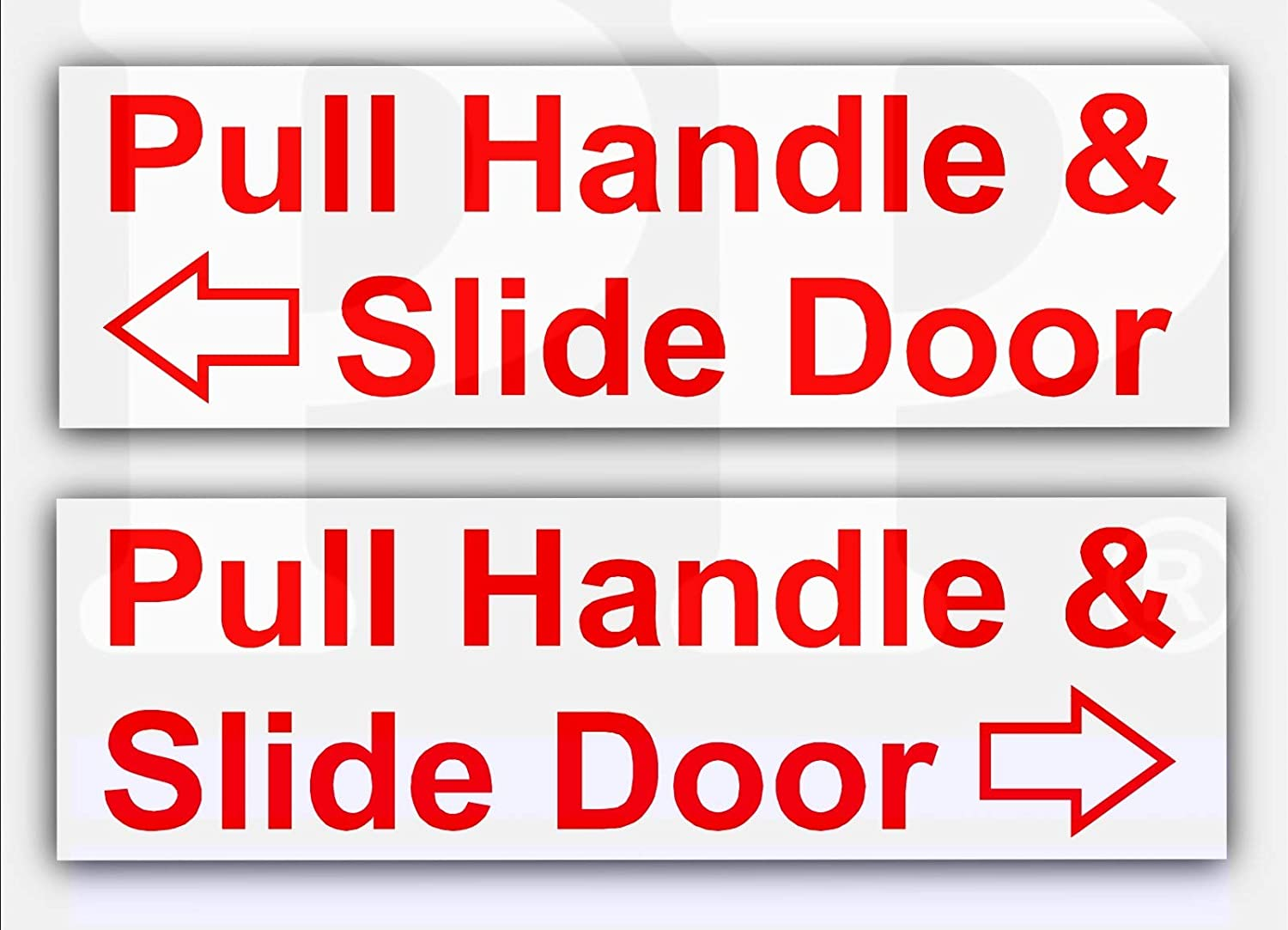Platinum Place 2 x Pull Handle and Slide Door to Open-Set of 2-Red On White Stickers-Left Right Arrows-Hackney Mini Cab,Taxi Minicab Safety Signs