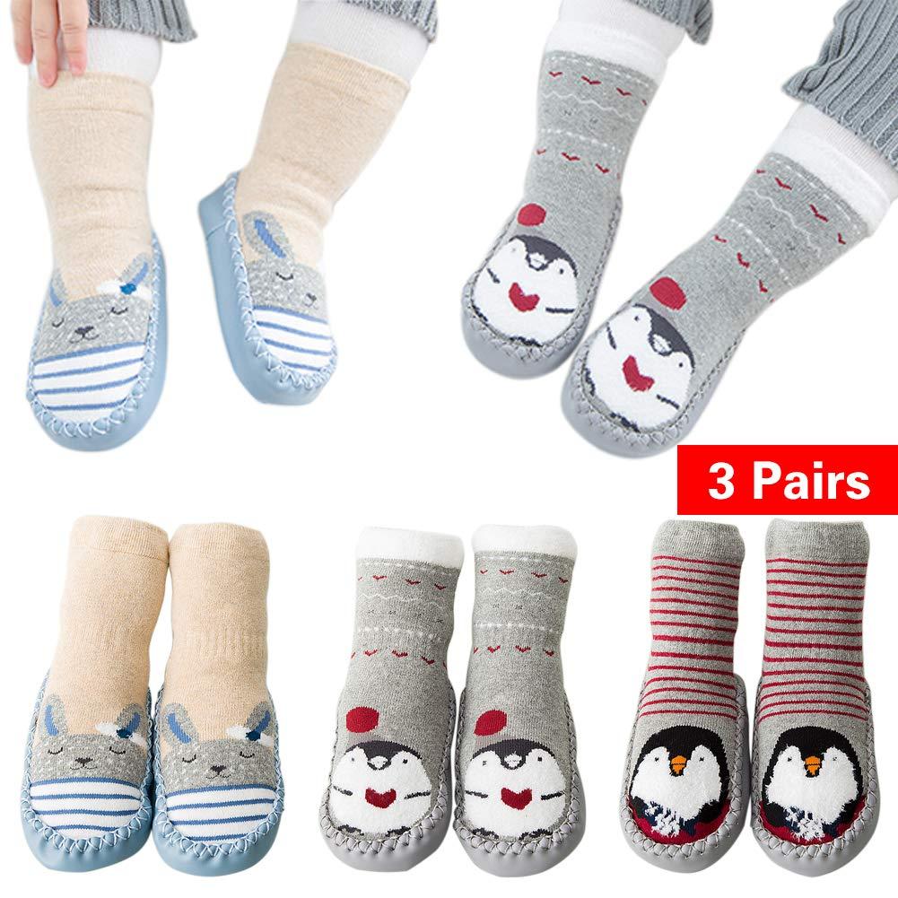 Unisex Baby Winter Crew Socks Antiskid Cotton Walker Sock for Toddler and Infant Wellwear