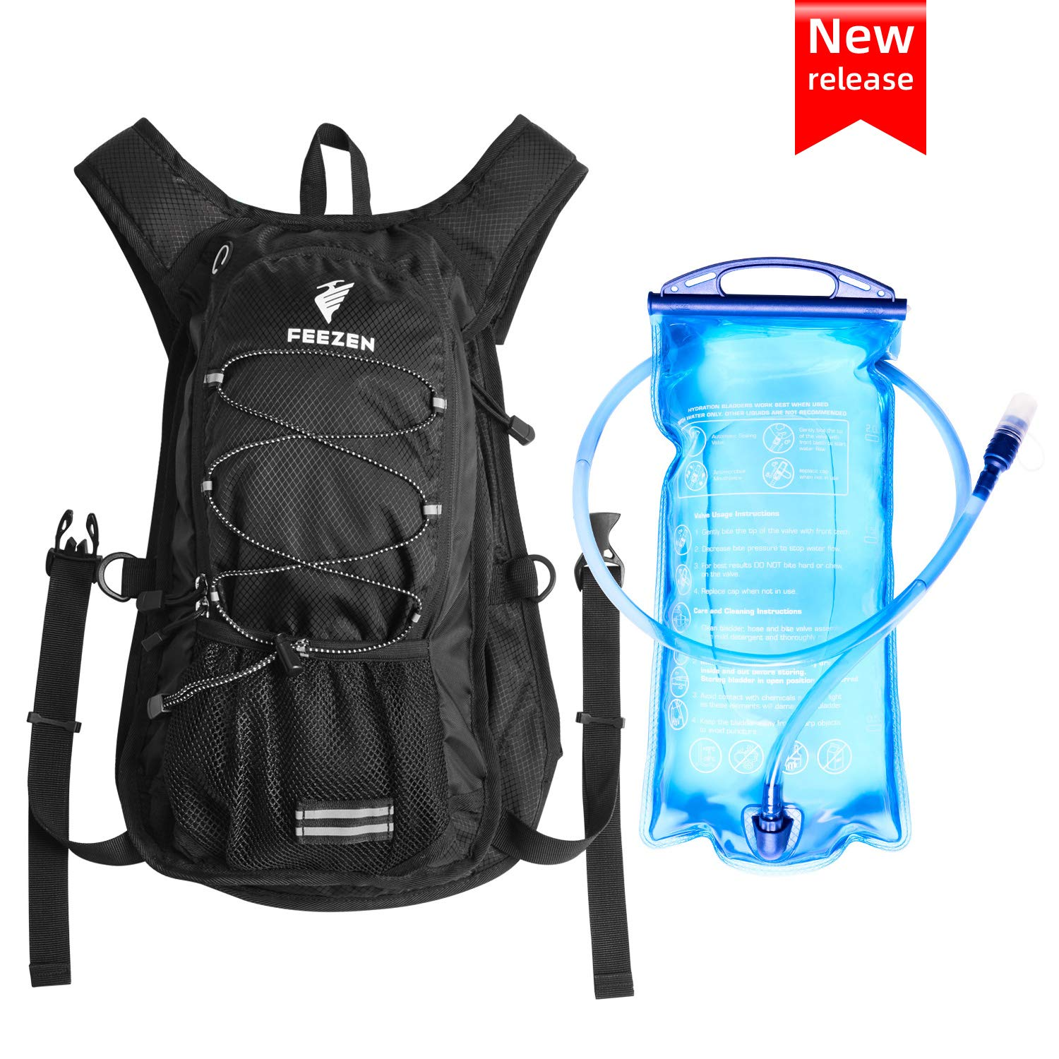 Feezen Insulated Hydration Backpack Pack with 2L BPA Free Bladder – Keeps Liquid Cool up to 4 Hours for Running, Hiking, Cycling, Camping