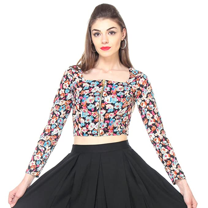 a11b4fddc38 Zastraa Multi Floral Crop Top with Front Zip ZSTRDRESS338-XL: Amazon ...