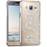 kwmobile Elegante e leggera custodia Crystal Case Design fiori motivo paisley per Samsung Galaxy J3 (2016) DUOS in bianco trasparente