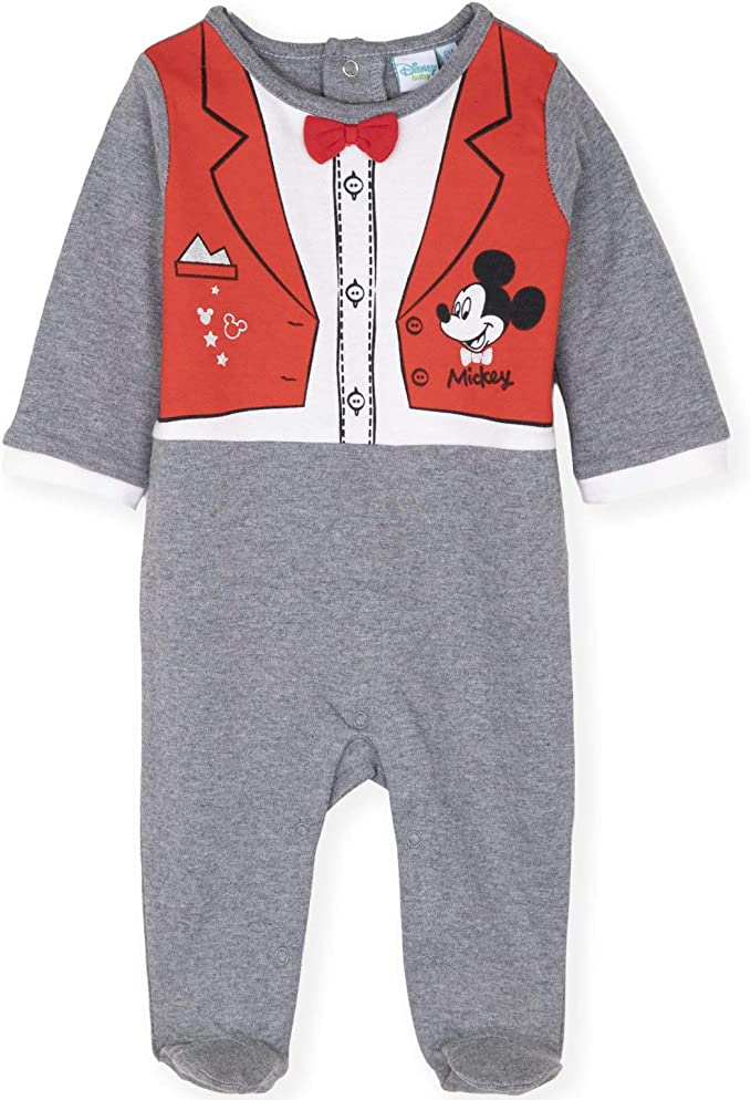 Babygrows Rompers 2-Pack 100/% Cotton 0-24 Months Disney Mickey Mouse Baby Boys Girls Bodysuits