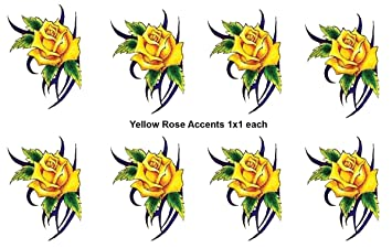 16b5d1424 Amazon.com: 8 Small Yellow Rose Accent Temporary Tattoos) #D325-8 ...