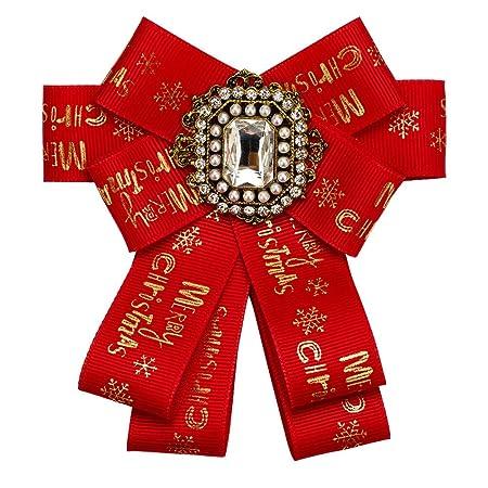 Broche Cristal de la mujer Bowknot Corbata roja Broche de ...
