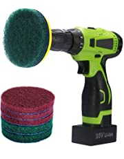 Kichwit 4 Inch Drill Power Brush Scrubber Scouring Pads Cleaning Kit, Includes Drill Attachment, 3 Non-Scratch Red Pads and 3 Stiff Green Pads, Heavy Duty Household Cleaning Tool (Drill Not Included)