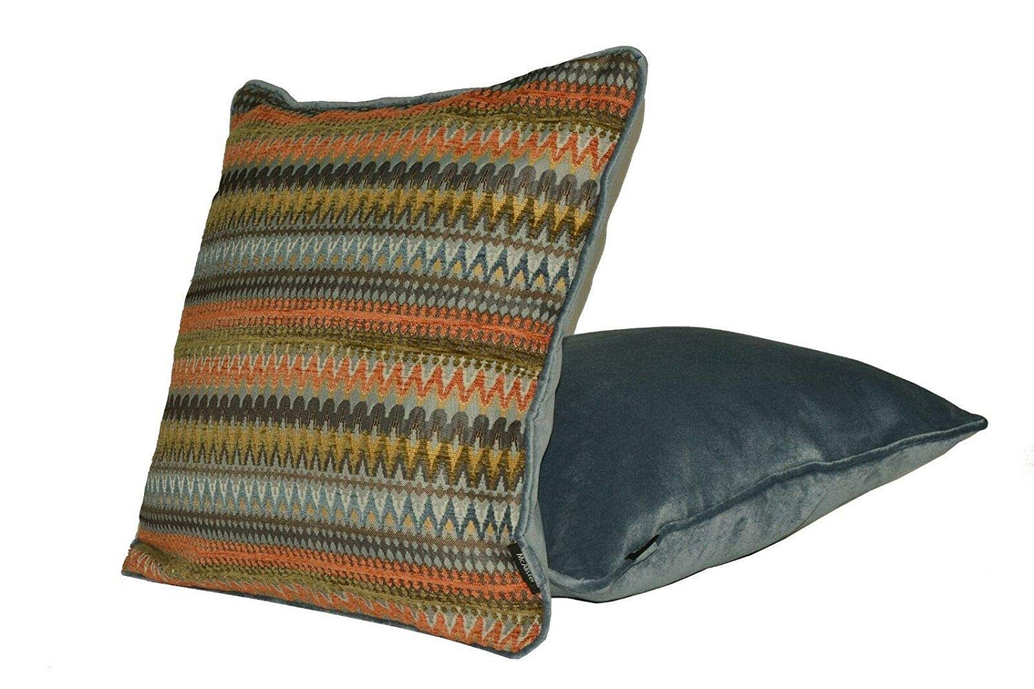 McAlister Textiles Curitiba Filled Pillow Orange Teal Aztec Geometric Design Scatter Decorative Throw Cushion Sham Size – 12 x 20 Inches
