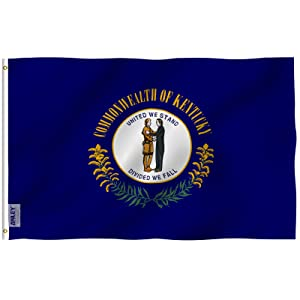 Anley Fly Breeze 3x5 Foot Kentucky State Flag - Vivid Color and UV Fade Resistant - Canvas Header and Double Stitched - Kentucky KY Flags Polyester with Brass Grommets 3 X 5 Ft