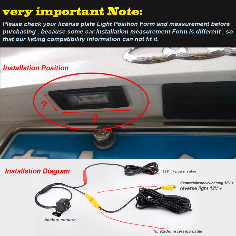 Navinio Waterproof High Definition Color Wide Viewing Backup Camera Wiring Diagram For Audi Q5 2016 Angle License Plate Car Rear View With Night Vision 4 Runner Land Cruiser