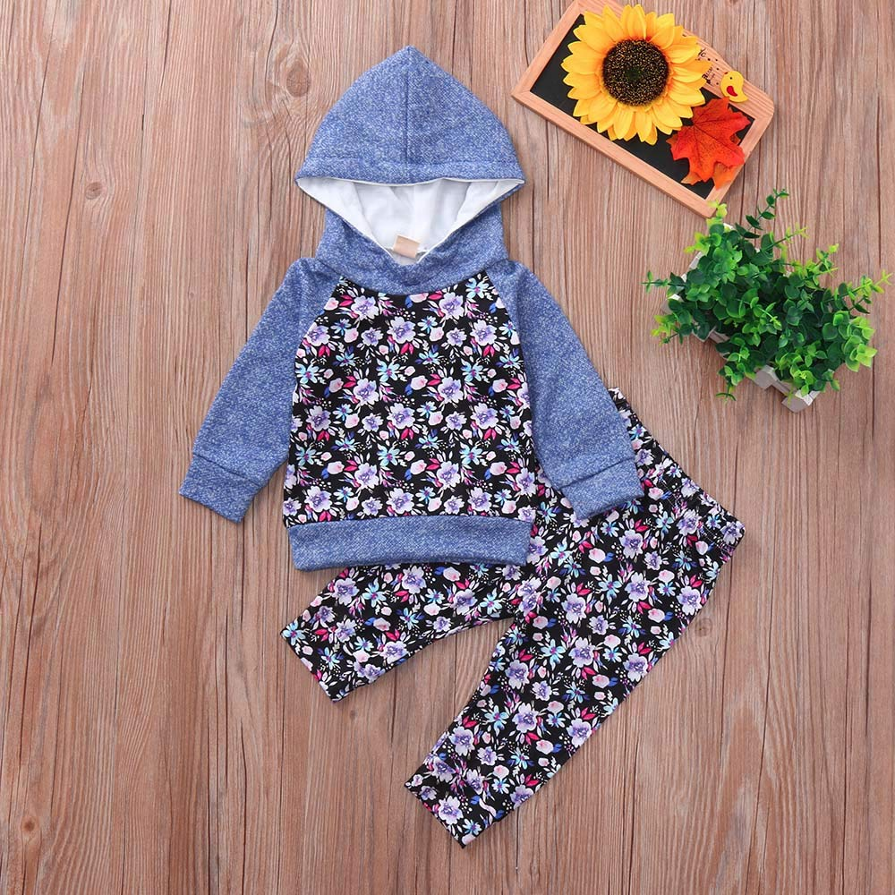 Amazon.com: Newborn Baby Boy 2 Piece Set Floral Long Sleeve Hoody T-shirt Top+Floral Pant Casual Set for Toddler Boys (age: 4-6 month, Blue): Beauty