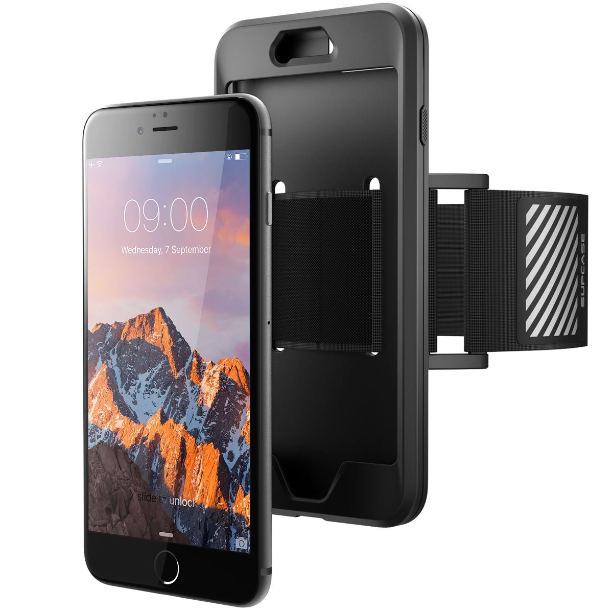 iPhone 7 Plus Armband, iPhone 8 Plus Armband, SUPCASE Easy Fitting Sport Running Armband Case with Premium Flexible Case Combo for Apple iPhone 7 Plus 2016 / iPhone 8 Plus 2017 (Black) by SUPCASE (Image #5)