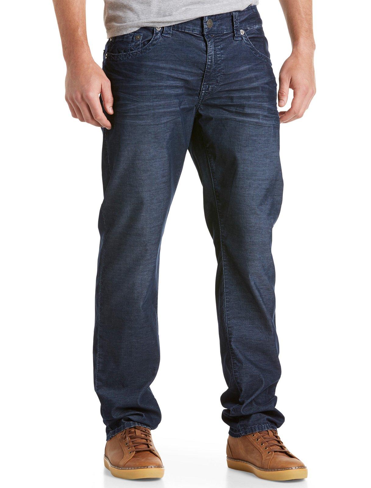 True Religion Big & Tall Bobby Straight Fine - Wale Corduroy Jeans (44 X 34, Navy)