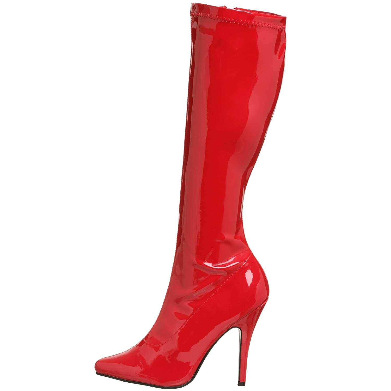 Pleaser Women's Seduce-2000 Knee-High Boot B00125TLF2 13 B(M) US|Red Stretch Patent