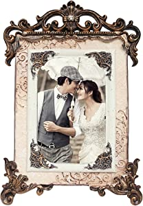 kilofly Vintage Table Top Decor Wedding Photo Picture Frame, 5x7 inch