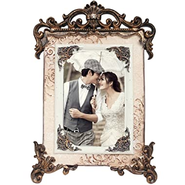 kilofly Vintage Table Top Decor Wedding Photo Picture Frame, 4x6 inch