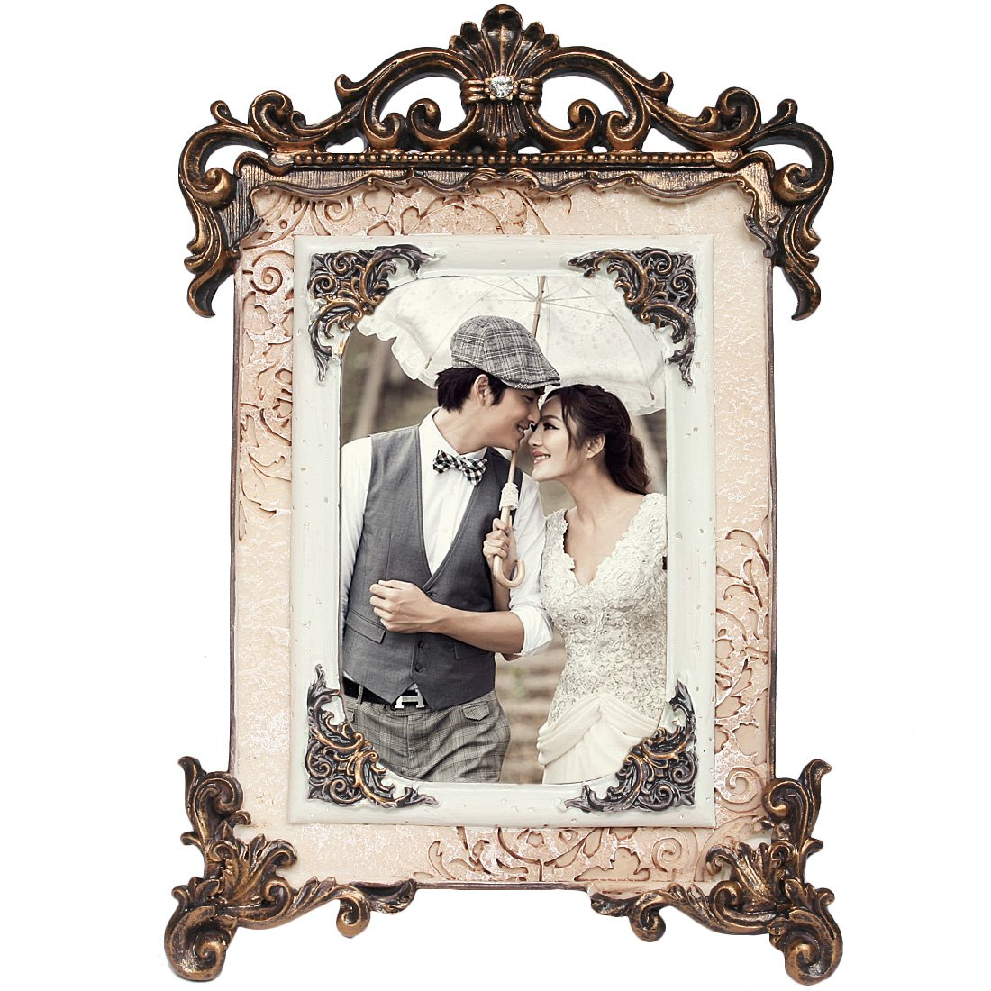kilofly Vintage Table Top Decor Wedding Photo Picture Frame, 6x8 inch