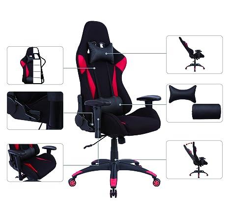 AmazonBasics Silla para oficina y gaming, diseño deportivo, rojo ...
