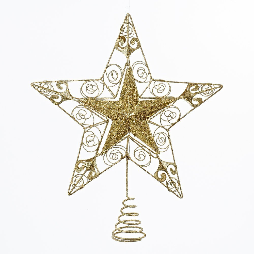 Kurt Adler 14'' Gold Glitter Wire Star Treetop